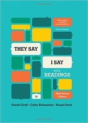 "Cover of: ""They Say / I Say"": The Moves That Matter in Academic Writing, with Readings (Third High School Edition) 3rd Edition"