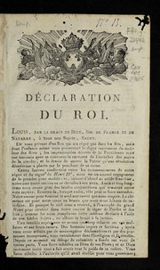 Cover of: De claration du roi