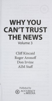 Cover of: Why you can't trust the news