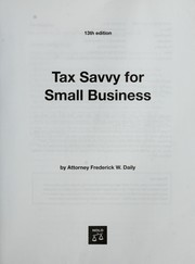 Cover of: Tax savvy for small business