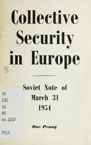 Cover of: Collective security in Europe