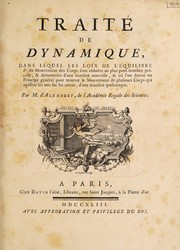 Cover of: Traité de dynamique