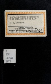 Cover of: English contributions to the philosophy of law