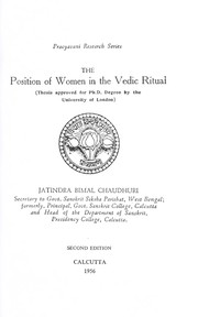 Cover of: The position of women in the Vedic ritual