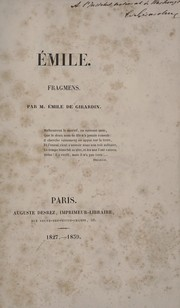 Cover of: Emile, Fragmens