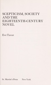 Cover of: Scepticism, society, and the eighteenth-century novel