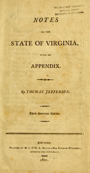 Cover of: Notes on the state of Virginia