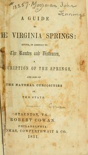 Cover of: A guide to the Virginia springs
