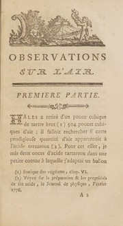 Cover of: Observations sur l'air