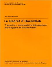 Cover of: Le decret d'Horemheb