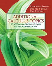 Cover of: Additional calculus topics
