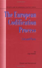 Cover of: The European codification process: cut and paste