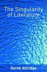 Cover of: The singularity of literature