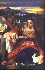 Cover of: How children learn the meanings of words