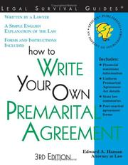 Cover of: How to write your own premarital agreement: with forms