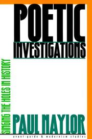 Cover of: Poetic investigations