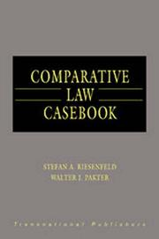 Cover of: Comparative law casebook