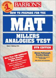 Cover of: Barron's how to prepare for the MAT, Miller analogies test