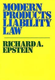 Cover of: Modern products liability law