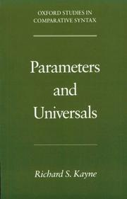 Cover of: Parameters and universals