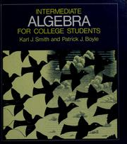 Cover of: Intermediate algebra for college students