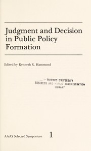 Cover of: Judgment and decision in public policy formation
