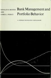 Cover of: Bank management and portfolio behavior