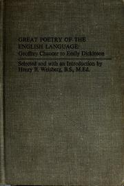 Cover of: Great poetry of the English language: Geoffrey Chaucer to Emily Dickinson