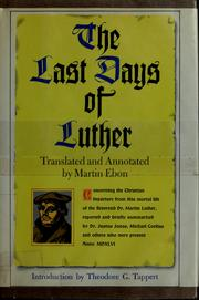 Cover of: The last days of Luther
