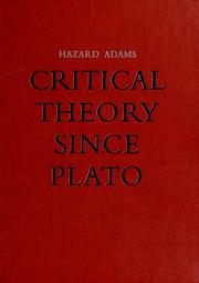 Cover of: Critical theory since Plato