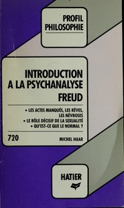 "Cover of: ""Introduction à la psychanalyse"", Freud"