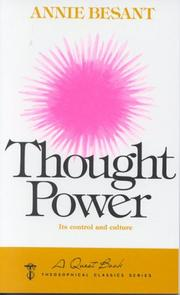 Cover of: Thought power: its control and culture