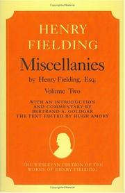 Cover of: Miscellanies by Henry Fielding, esq