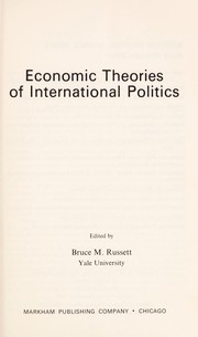 Cover of: Economic theories of international politics