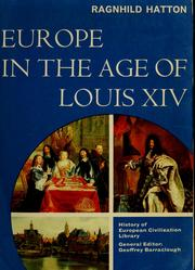 Cover of: Europe in the age of Louis XIV