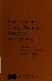 Cover of: Population and family planning, manpower and training