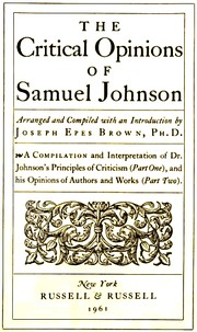 Cover of: The critical opinions of Samuel Johnson