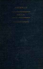 Cover of: American social institutions