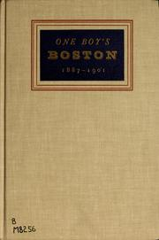 Cover of: One boy's Boston, 1887-1901