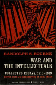 Cover of: War and the intellectuals: essays, 1915-1919