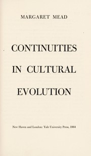 Cover of: Continuities in cultural evolution
