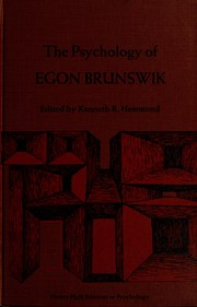 Cover of: The Psychology of Egon Brunswik