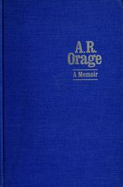 Cover of: A. R. Orage: a memoir