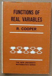 Cover of: Functions of real variables