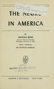 Cover of: The Negro in America