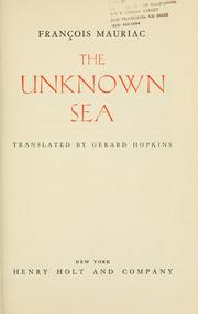 Cover of: The unknown sea