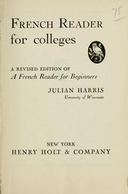Cover of: French reader for colleges