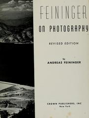 Cover of: Feininger on photography