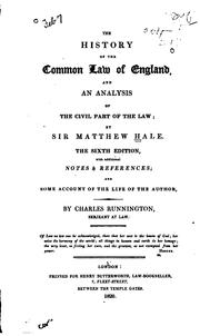 Cover of: The history of the common law of England