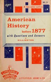Cover of: American history before 1877